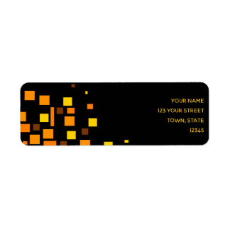 Squares Vibrant Black Yellow Geometric Trendy Cool Return Address Label
