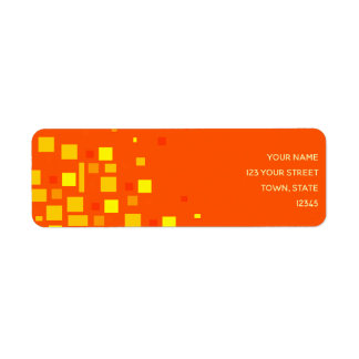 Squares Vibrant Orange Yellow Geometric Neon Cool Return Address Label