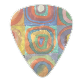 Squares with Concentric Circles by Kandinsky Pearl Celluloid Guitar Pick