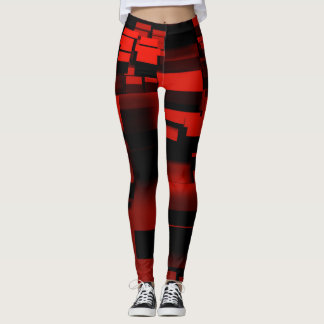Squaring geometric abstract red leggings