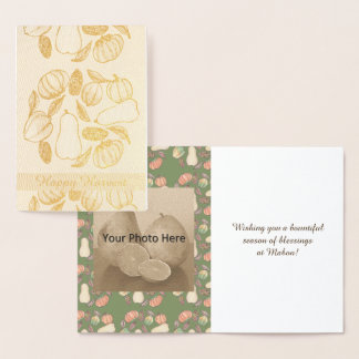 Squash Bounty Mabon Harvest Home Equinox Green Foil Card