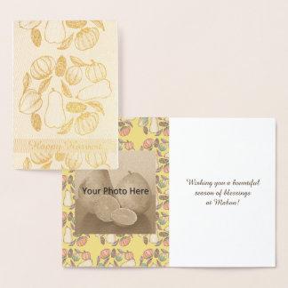Squash Bounty Mabon Harvest Home Equinox Yellow Foil Card