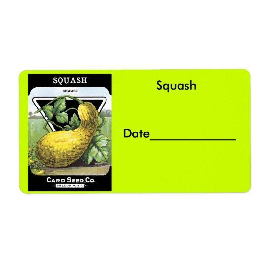 Squash Canning/Freezing Labels