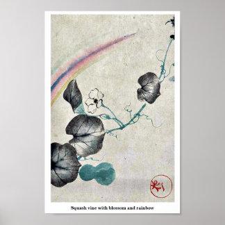 Squash vine with blossom and rainbow print