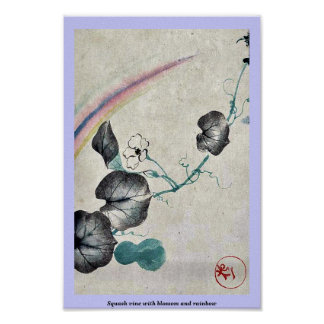 Squash vine with blossom and rainbow poster