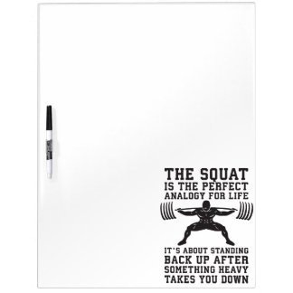 Squat Analogy For Life - Leg Day Inspirational Dry Erase Board