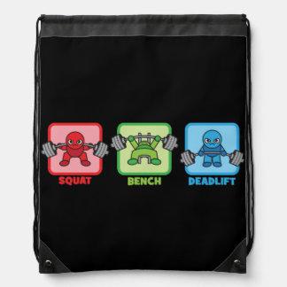 Squat, Bench Press, Deadlift - Kawaii Powerlifter Drawstring Bag
