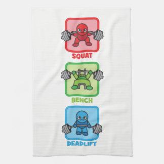 Squat, Bench Press, Deadlift - Kawaii Powerlifter Tea Towel