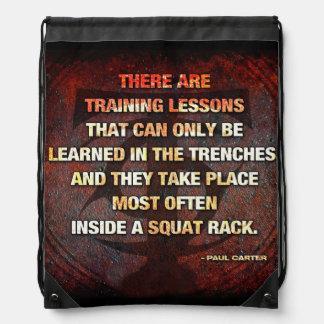 Squat Rack Trenches - Gym Workout Inspirational Drawstring Bag