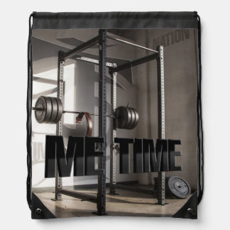 Squat Rack Workout Motivation - Me Time - Gym Drawstring Bag