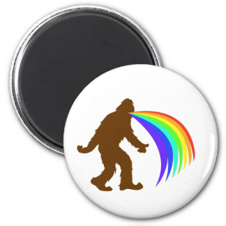 Squatch Barfing A Rainbow 6 Cm Round Magnet