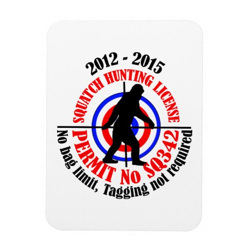 squatch hunting permit rectangle magnet