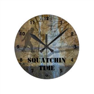 Squatchin time round clock