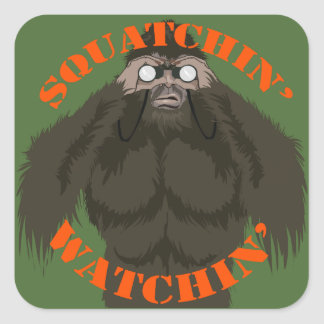 Squatchin' Watchin' Bigfoot Love Square Sticker