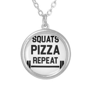 Squats Pizza Repeat Silver Plated Necklace