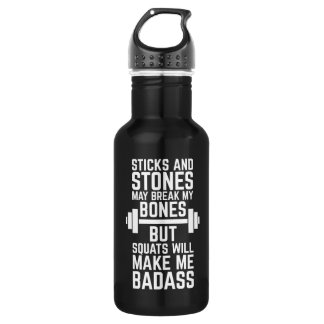 Squats Will Make Me Badass Gym Quote 532 Ml Water Bottle