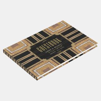 Squazi Art Deco Glitter Gold Black Pattern Guest Book