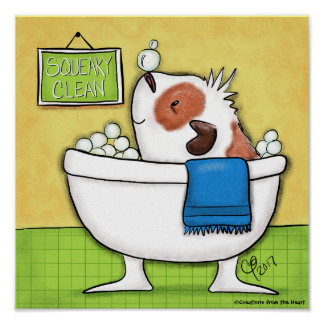 Squeaky Clean Guinea Pig Bubble Bath Poster