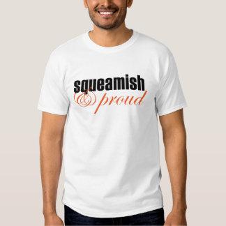 Squeamish & Proud (script-black/orange) T-shirt