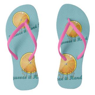squeeze it hard fresh orange women slippers thongs