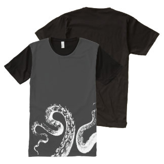 Squid Black Customizable Black All-Over Print T-Shirt