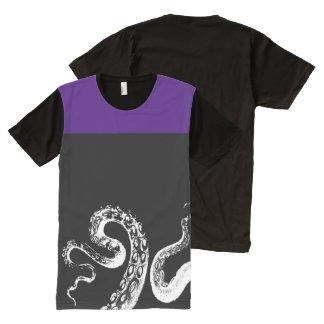 Squid Black Customizable Deep Purple All-Over Print T-Shirt
