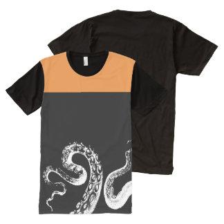 Squid Black Customizable Orange All-Over Print T-Shirt