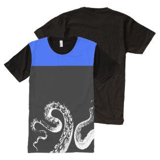 Squid Black Customizable Royal Blue All-Over Print T-Shirt