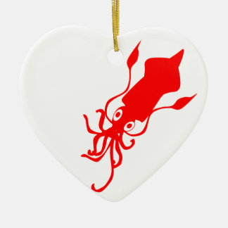 Squid Ceramic Heart Decoration