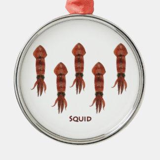 Squid Logo (color illustration) Silver-Colored Round Decoration