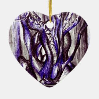 Squid on a desk ceramic heart decoration