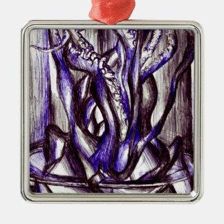 Squid on a desk Silver-Colored square decoration