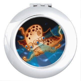 SQUIDDY ALIEN MONSTER CARTOON compactmirror ROUND Travel Mirrors