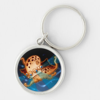 SQUIDDY MONSTER ALIEN BUTTON  Premium Round SMALL Key Ring