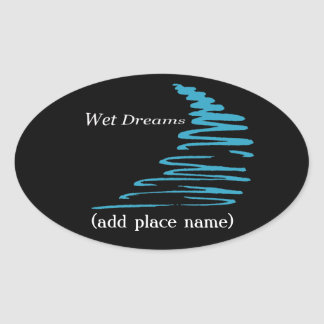 Squiggly Lines_Wet Dreams namedrop template Oval Sticker