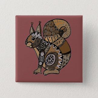 Squirrel 15 Cm Square Badge