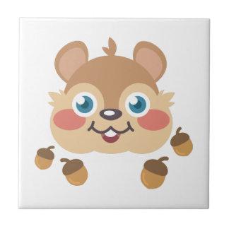 Squirrel & Acorns Small Square Tile