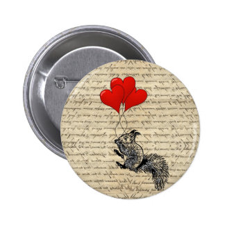 Squirrel and heart balloons 6 cm round badge