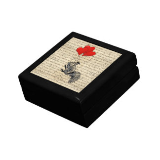 Squirrel and heart balloons gift box