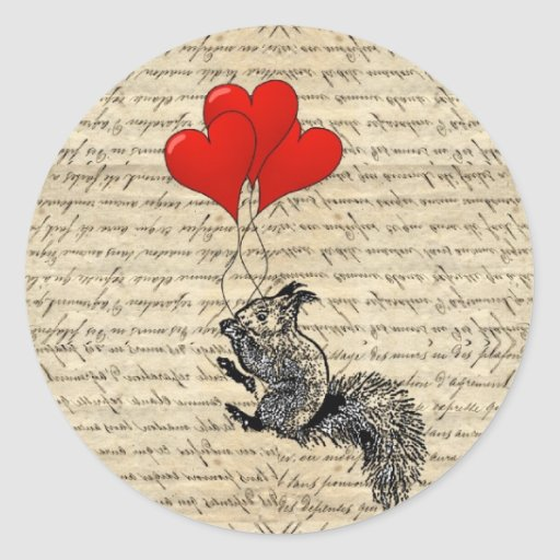 Squirrel and heart balloons sticker