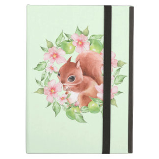 Squirrel and pink flowers iPad air cover