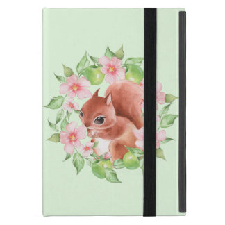 Squirrel and pink flowers iPad mini case