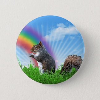 Squirrel and Rainbow Sky 6 Cm Round Badge