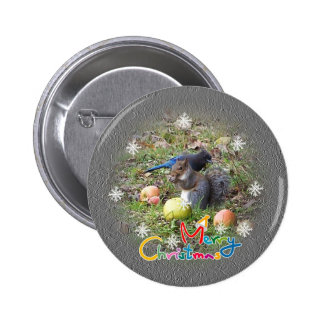 Squirrel And Steller Jay Christmas Button