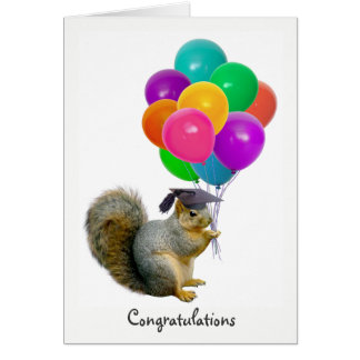 Squirrel Balloons Graduation Card
