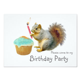 Squirrel Candle Birthday Party Invitation