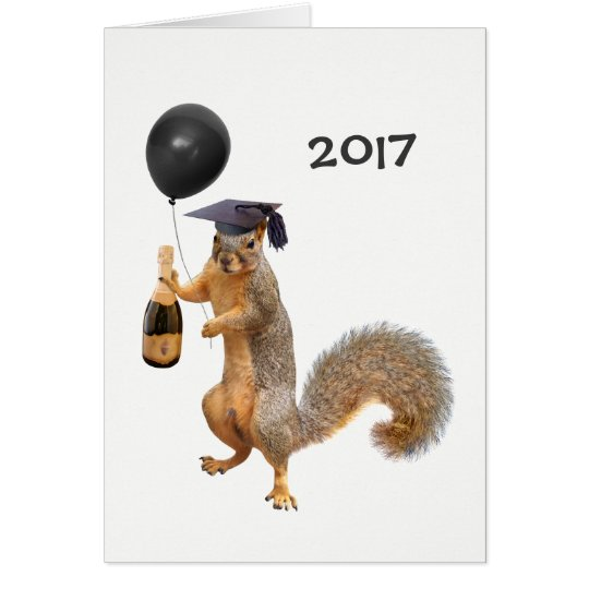 Squirrel Champagne Balloon 2017 Card