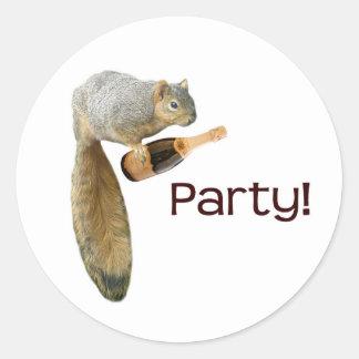 Squirrel Champagne Party! Classic Round Sticker
