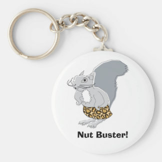 Squirrel Character  Mr. Nutz, Nut Buster! Basic Round Button Key Ring