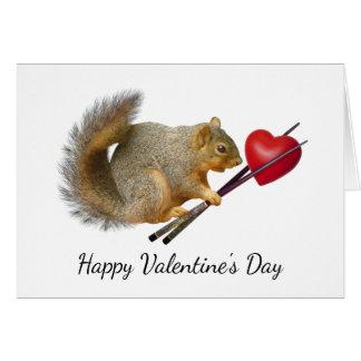 Squirrel Chopsticks Heart Valentine Card